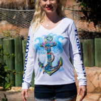 UPF ladies long sleeve v -neck anchor shirt