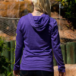 Long sleeve hooded tee shirt back view