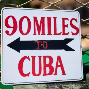 90 miles to Cuba small sign