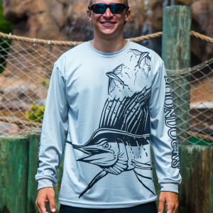 UPF long sleeve grey sailfish shirt