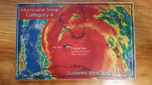 Hurricane Irma sign with date time and landfall windspeeds