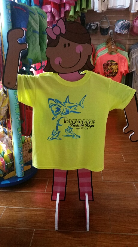 Youth yellow tee with blue sharks