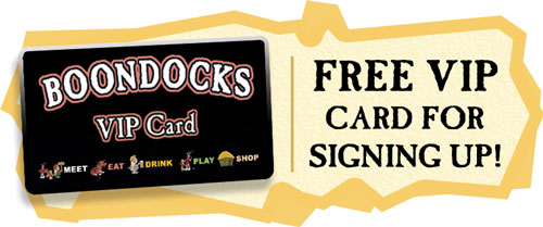 Free Boondocks VIP Card For Signing up for the Cornhole League