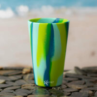 SiliPint 16ox Pint Glass - SeaSwirl Green and Blue