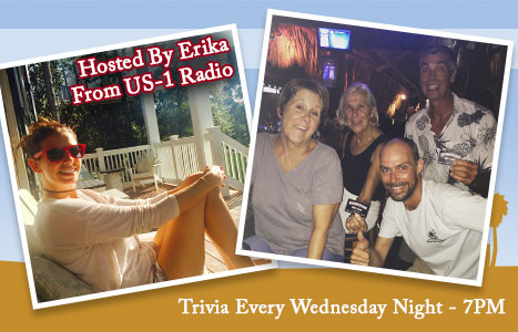 Picture of Host, Erika, and picture of winning team holding up their gift card prize. Trivia Every Wednesday Night - 7pm