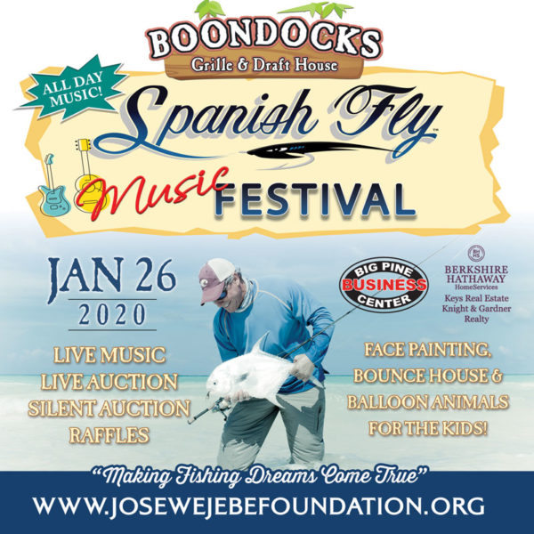 Spanish Fly Music Festival Flyer. Jose Holding a Permit and Event Info.