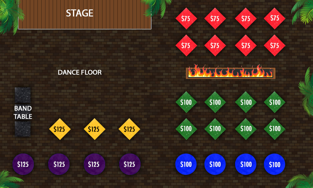 Seating layout map. Yellow section under the tiki roof by dance floor. Purple section under tiki roof back of house. Blue section back of house outside for tiki roof. Green section outside of tiki roof in courtyard side of fire pit. Red section across fire pit to the left of the stage.